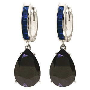 Sapphire Droplet Huggie Earrings 1.3 ctw in 9ct White Gold