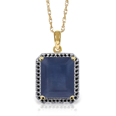 Sapphire Halo Pendant Necklace 6.6 ctw in 9ct Gold