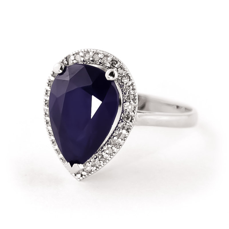Sapphire Halo Ring 5.26 ctw in 9ct White Gold