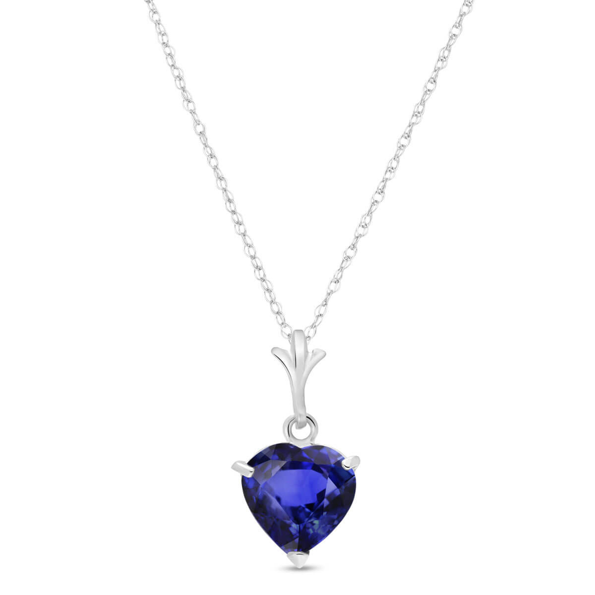 Sapphire Heart Pendant Necklace 1.55 ct in 9ct White Gold