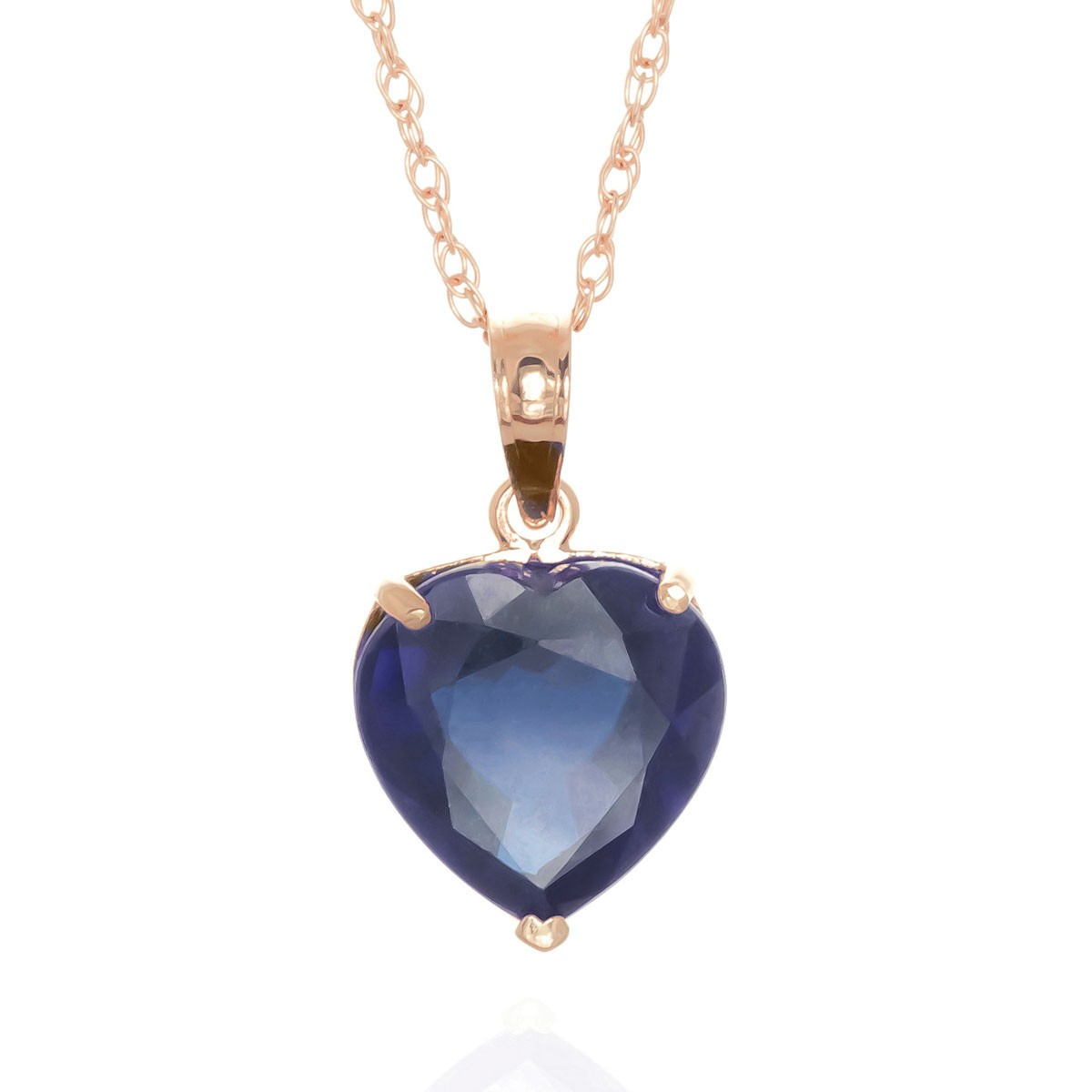 Sapphire Large Heart Pendant Necklace 4.3 ct in 9ct Rose Gold