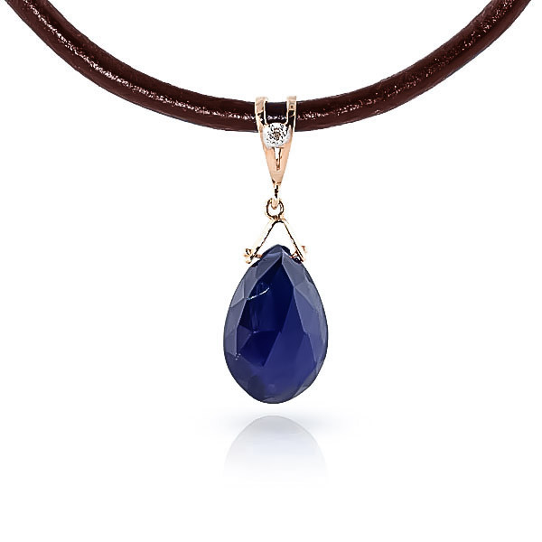 Sapphire Leather Pendant Necklace 7.81 ctw in 9ct Rose Gold