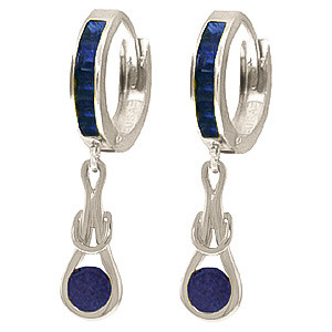 Sapphire Loop Knot Huggie Earrings 1.3 ctw in 9ct White Gold