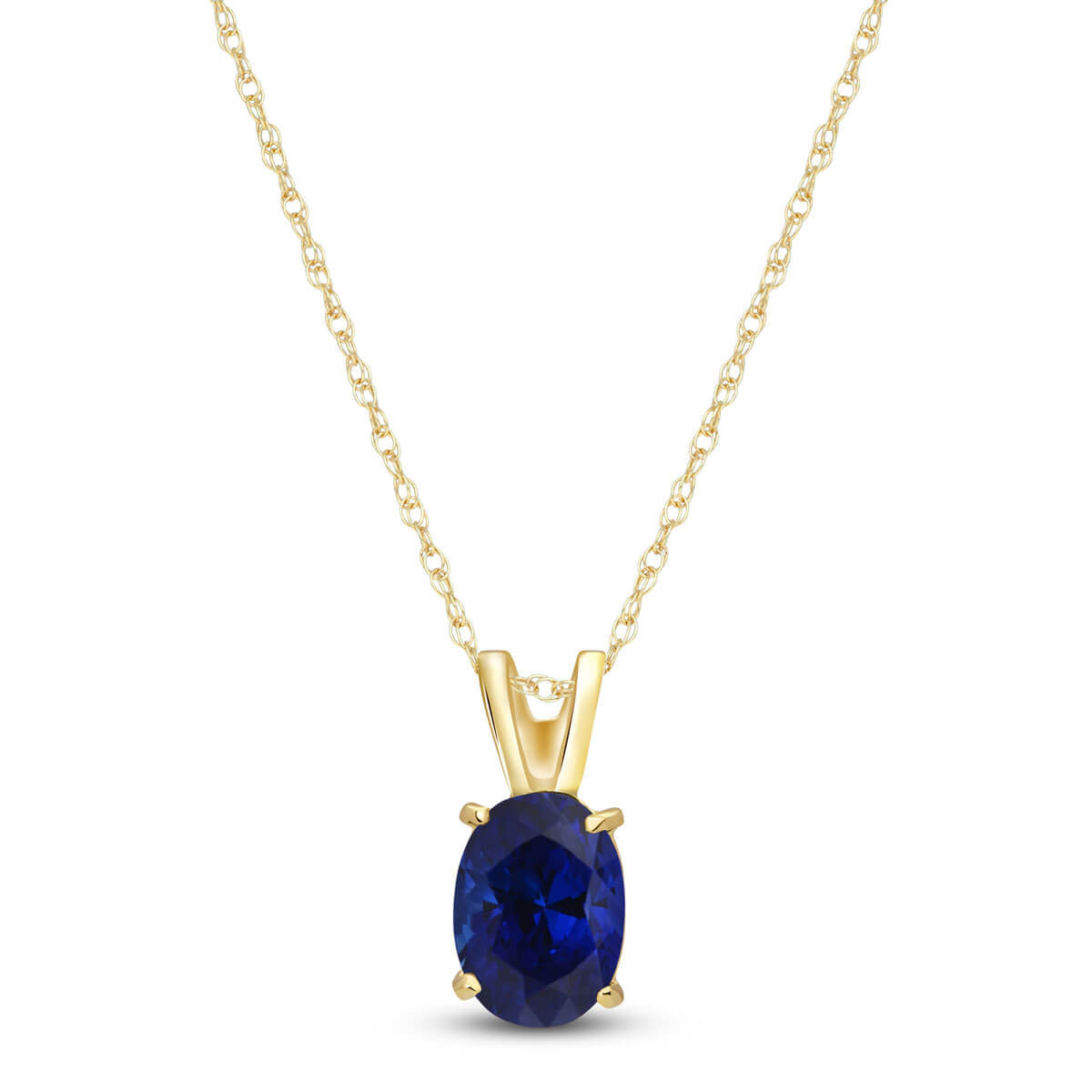 Sapphire Oval Pendant Necklace 1 ct in 9ct Gold