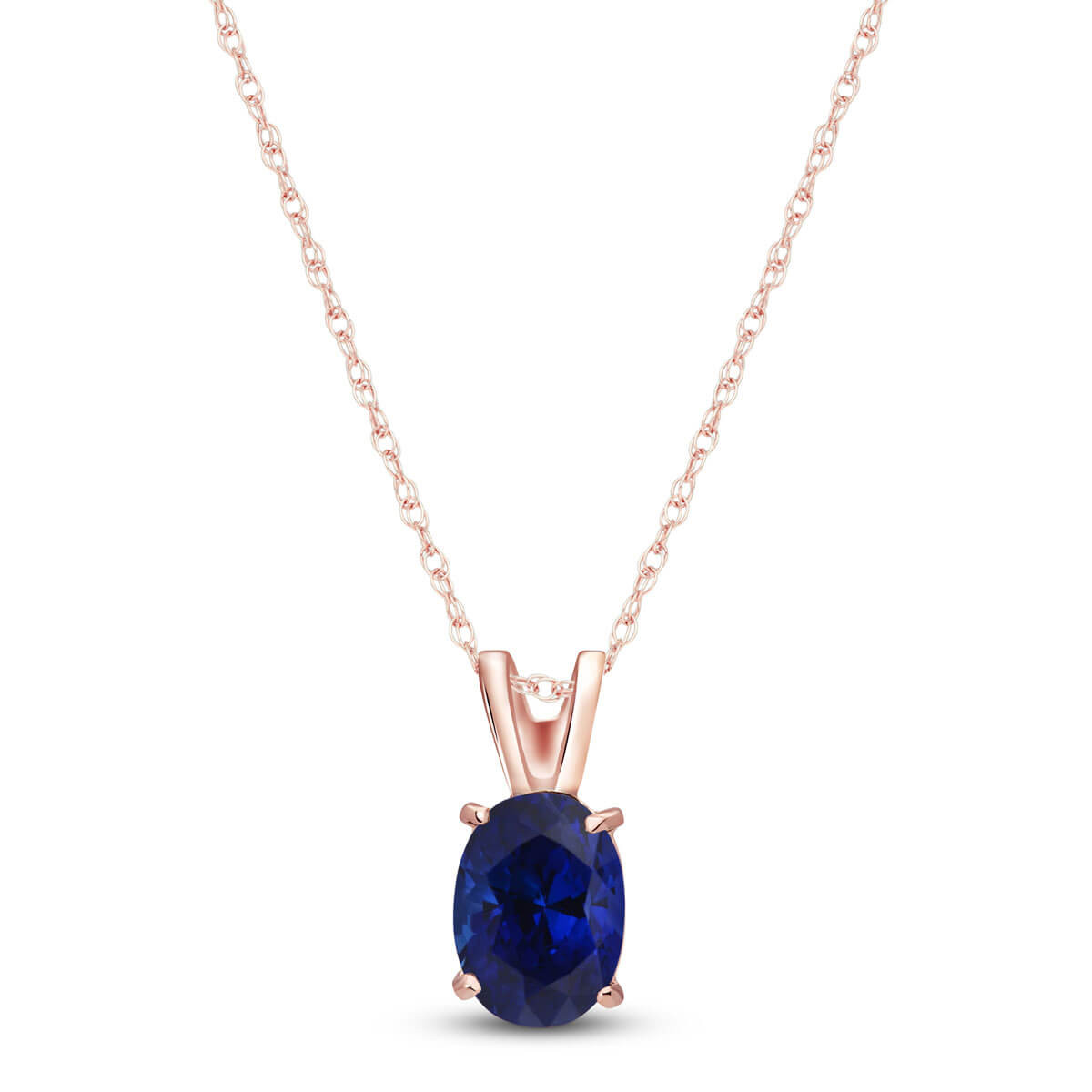 Sapphire Oval Pendant Necklace 1 ct in 9ct Rose Gold
