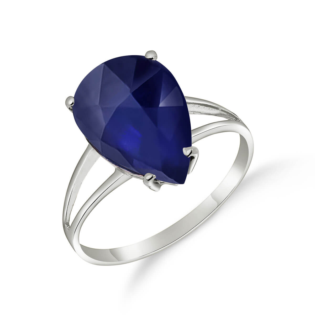 Sapphire Pear Drop Ring 4.65 ct in 9ct White Gold