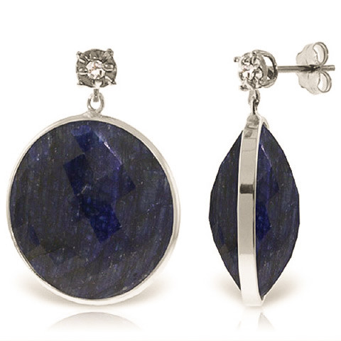 Sapphire Stud Earrings 46.06 ctw in 9ct White Gold