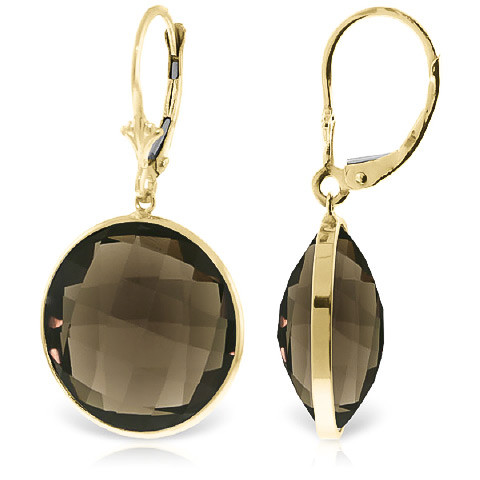 Smoky Quartz Drop Earrings 34 Ctw In 9ct Gold