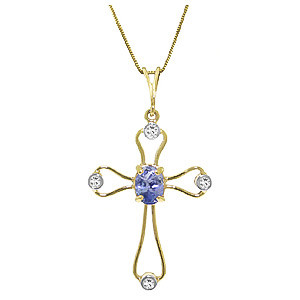Tanzanite diamond cross pendant necklace in 9ct gold 4090y qp tanzanite diamond cross pendant necklace in 9ct gold aloadofball Choice Image