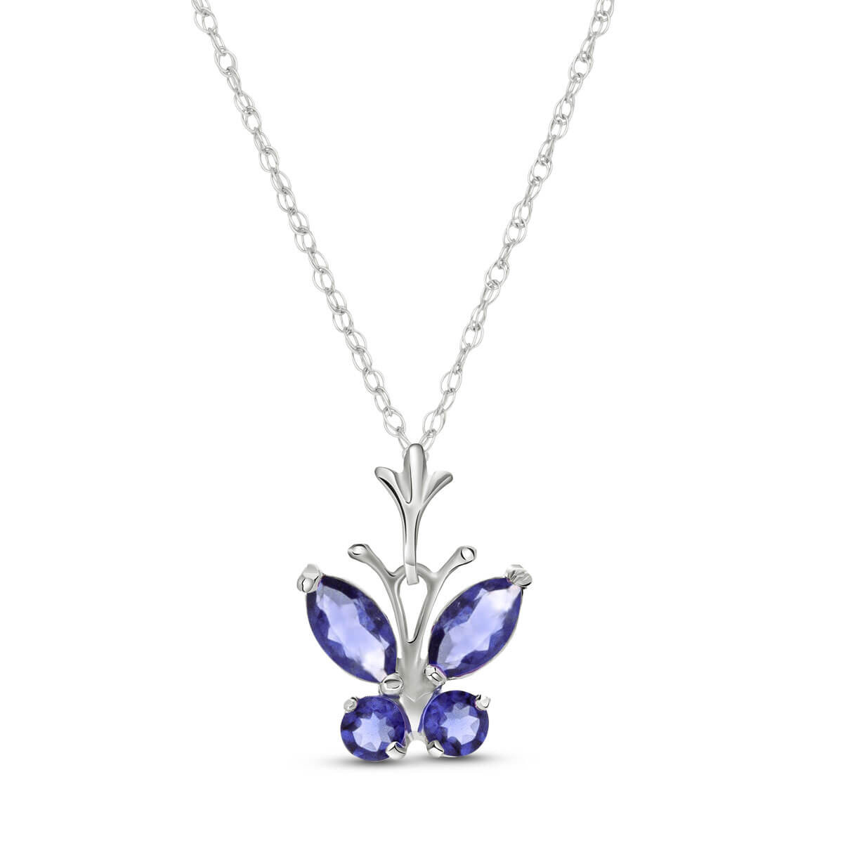 Tanzanite Butterfly Pendant Necklace 0.6 ctw in 9ct White Gold