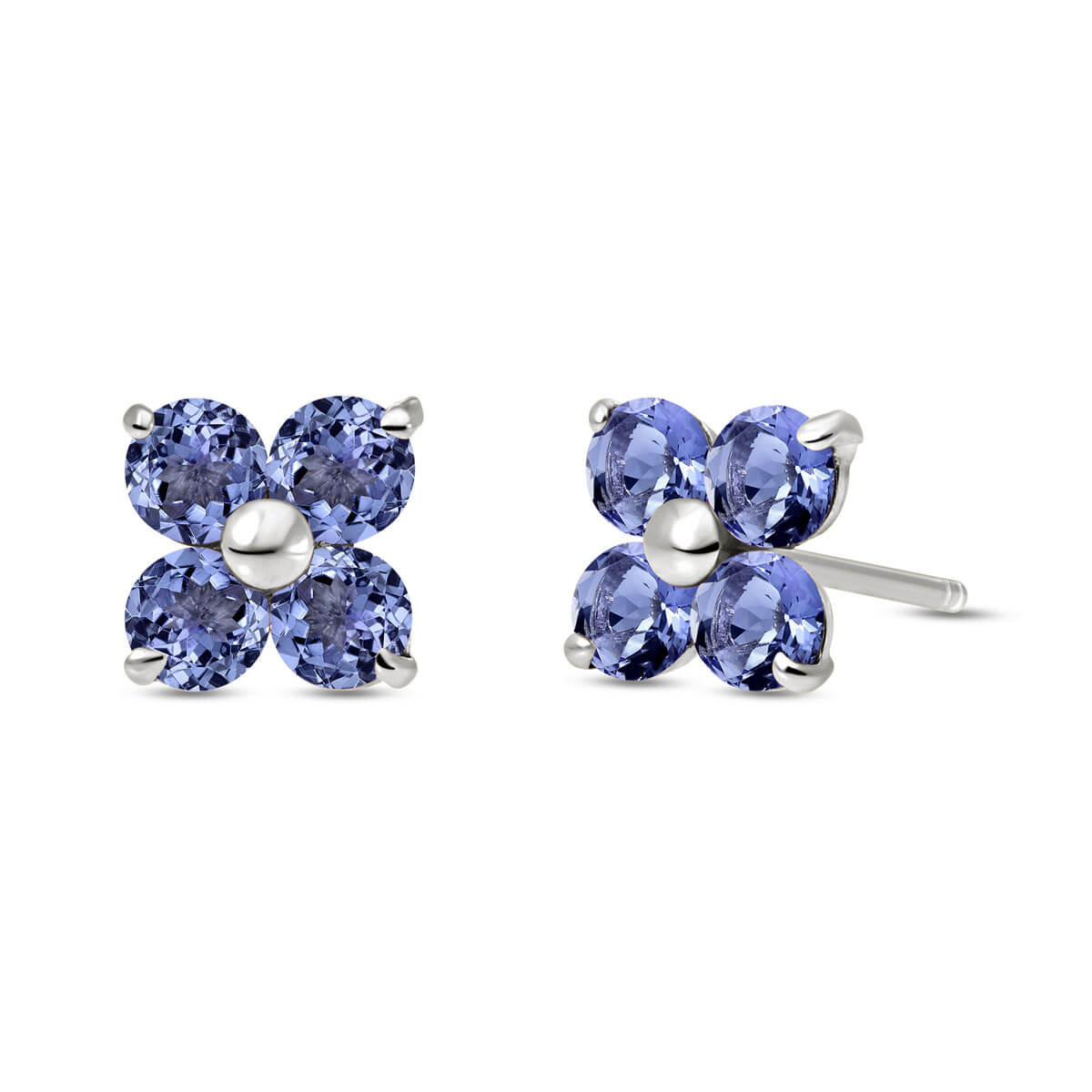 Tanzanite Clover Stud Earrings 1.15 ctw in 9ct White Gold