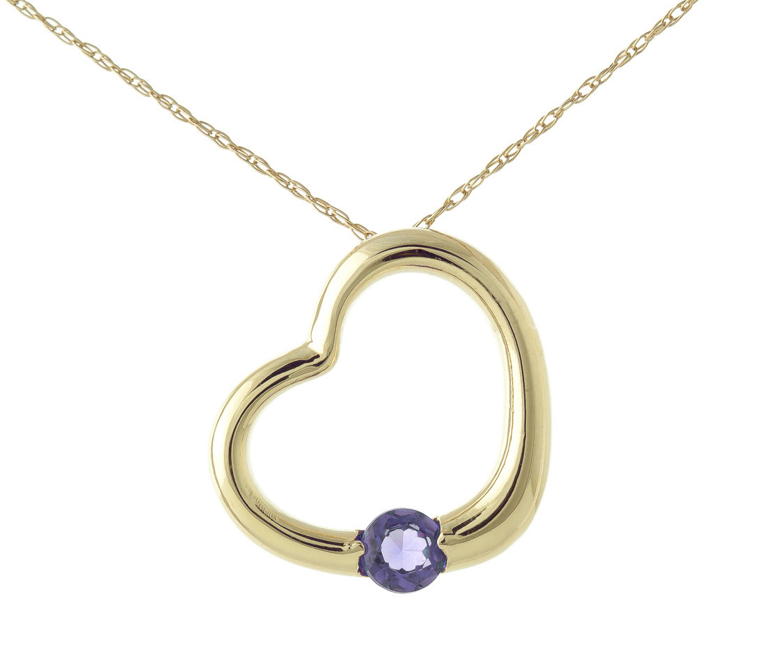 Tanzanite Heart Pendant Necklace 0.25 ct in 9ct Gold