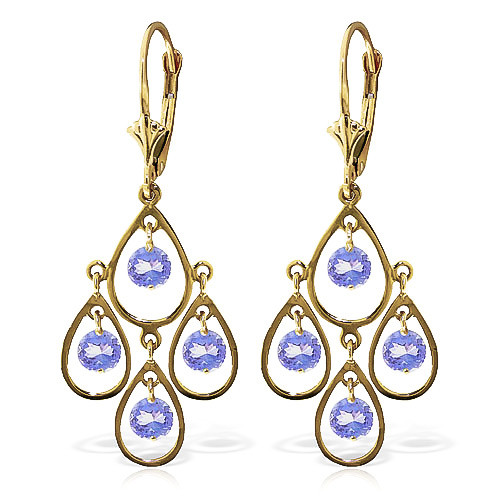 Tanzanite Quadruplo Milan Drop Earrings 2.4 ctw in 9ct Gold