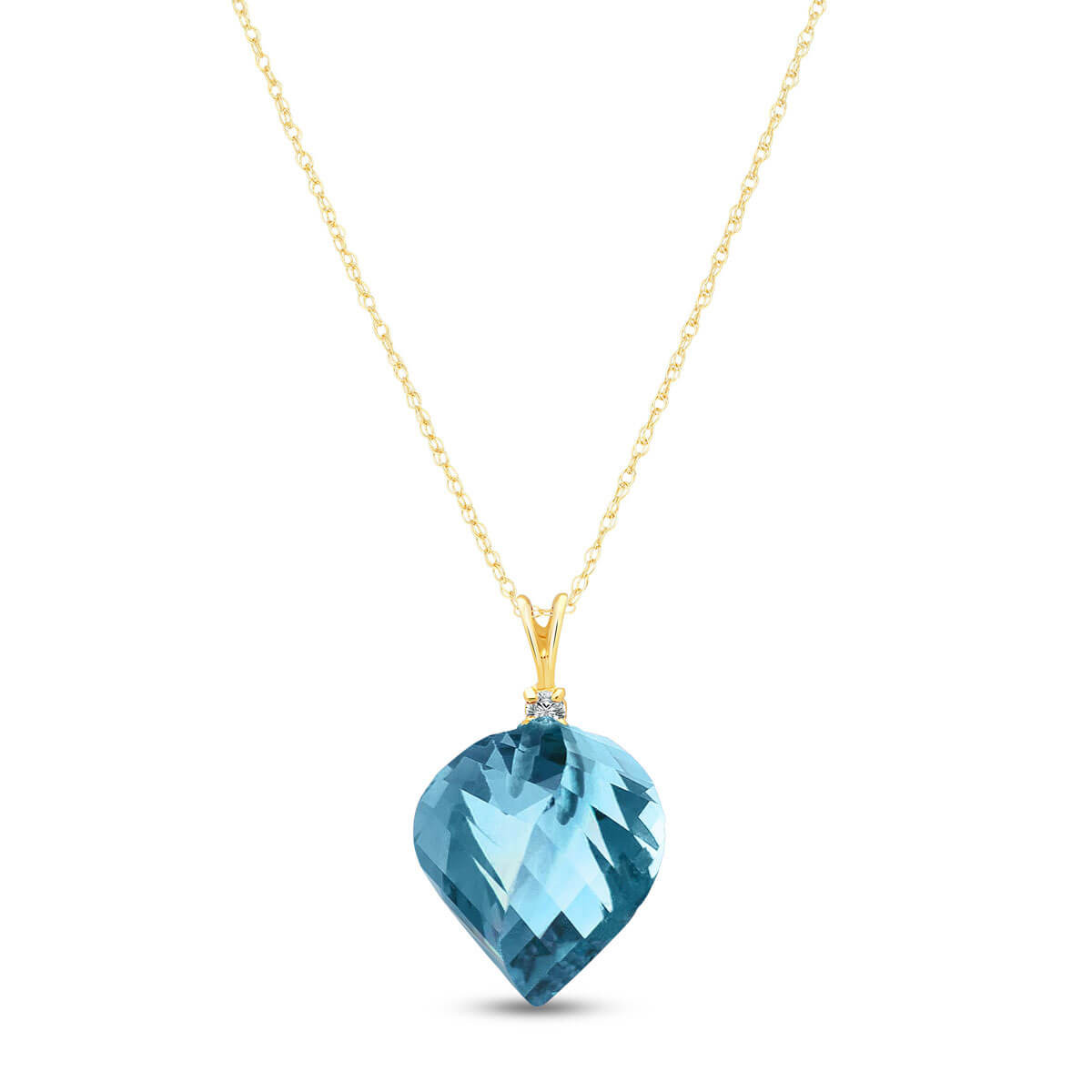 Twisted Briolette Cut Blue Topaz Pendant Necklace 13.95 ctw in 9ct Gold