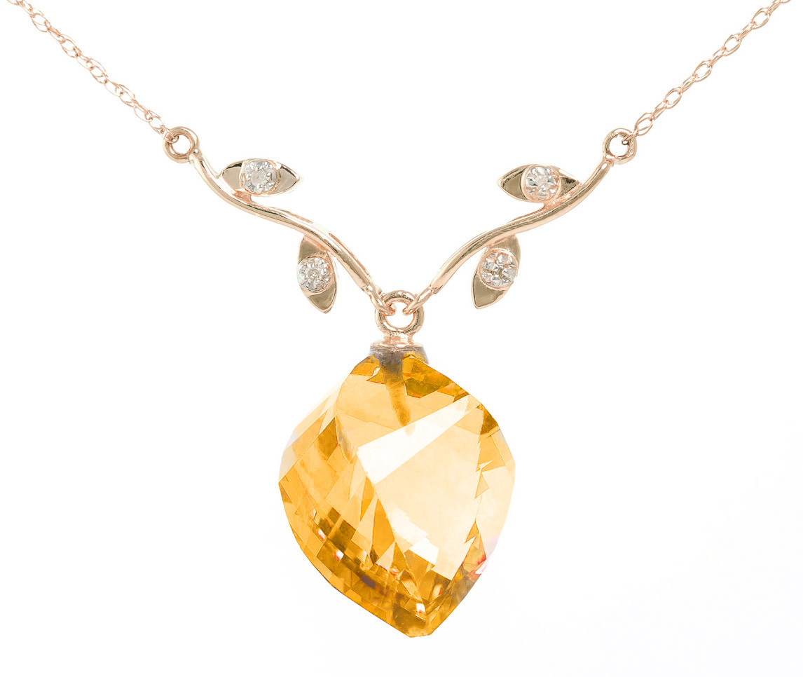 Twisted Briolette Cut Citrine Pendant Necklace 11.77 ctw in 9ct Rose Gold