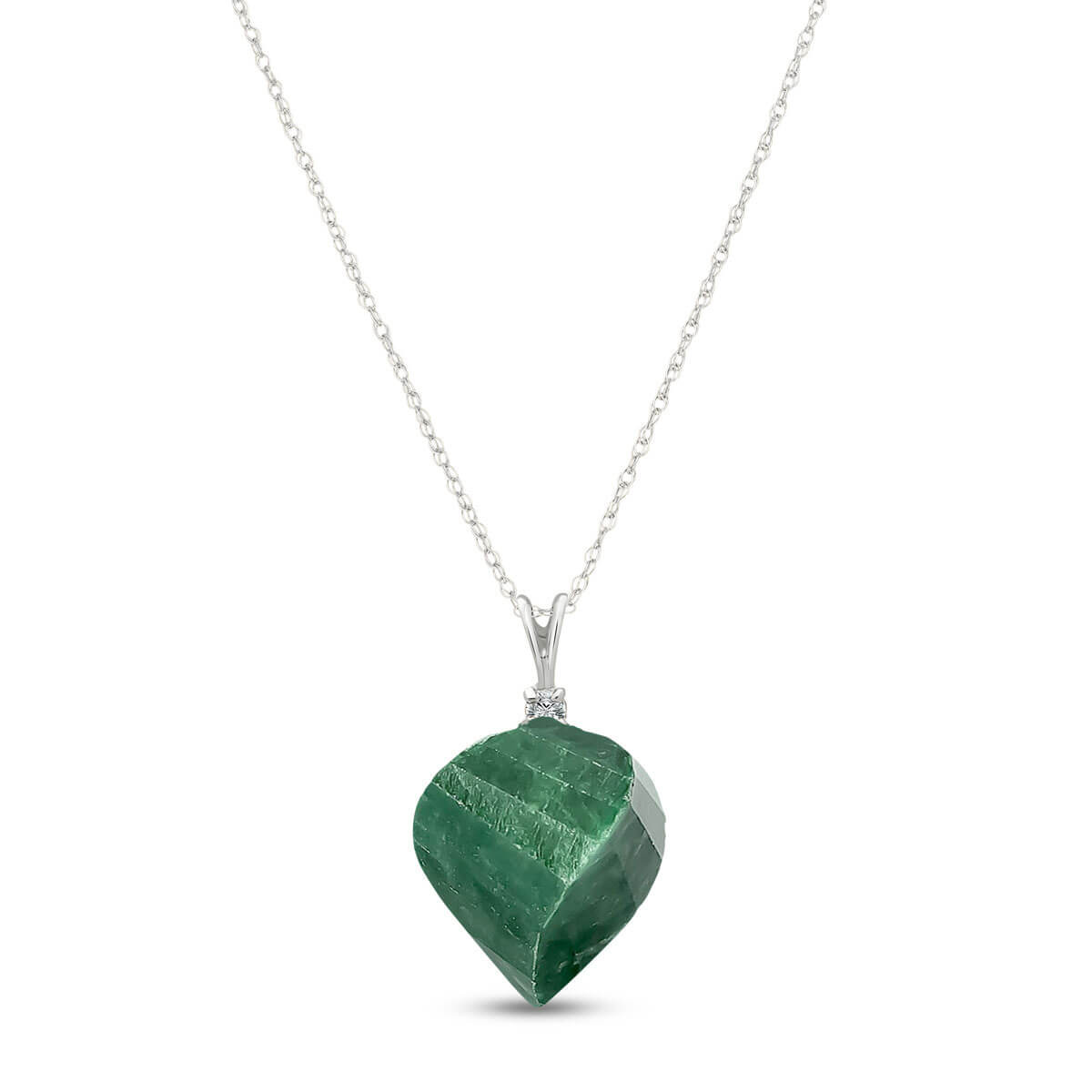 Twisted Briolette Cut Emerald Pendant Necklace 15.3 ctw in 9ct White Gold