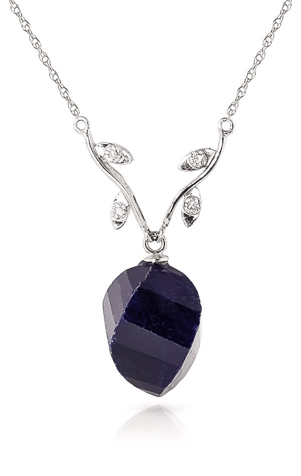 Twisted Briolette Cut Sapphire Pendant Necklace 15.27 ctw in 9ct White Gold
