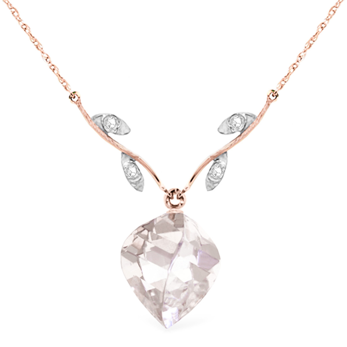 Twisted Briolette Cut White Topaz Pendant Necklace 12.82 ctw in 9ct Rose Gold