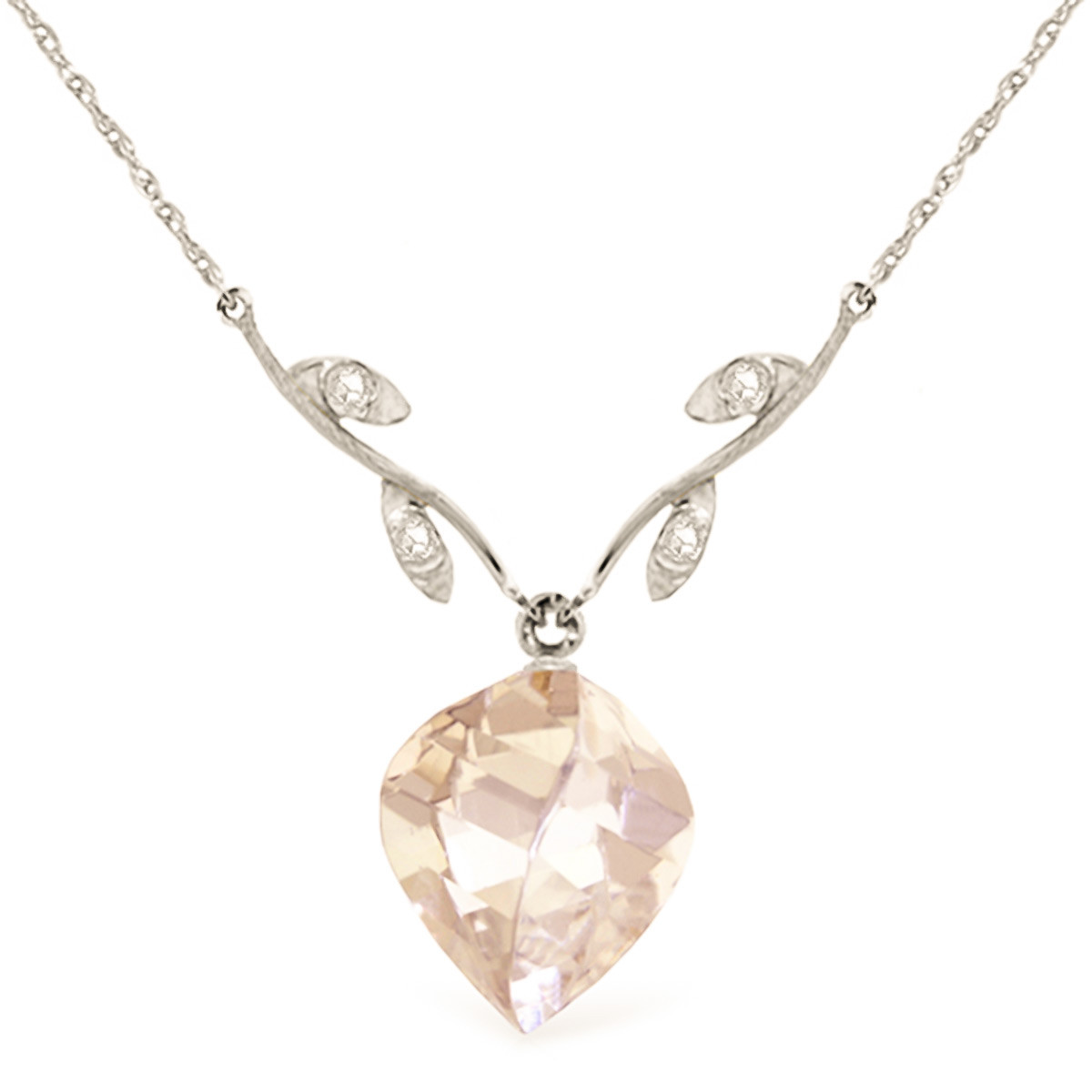 Twisted Briolette Cut White Topaz Pendant Necklace 12.82 ctw in 9ct White Gold