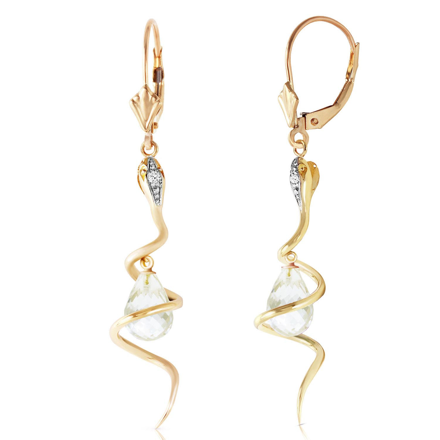 White Topaz & Diamond Serpent Earrings in 9ct Gold