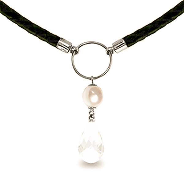 White Topaz & Pearl Leather Pendant Necklace in 9ct White Gold
