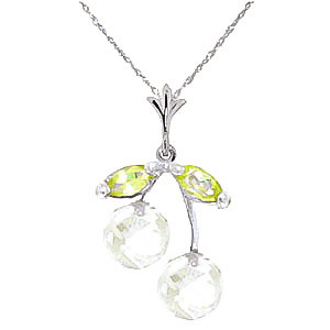 White Topaz & Peridot Cherry Drop Pendant Necklace in 9ct White Gold
