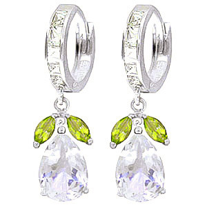 White Topaz & Peridot Huggie Drop Earrings in 9ct White Gold