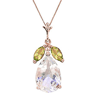 White Topaz & Peridot Pear Drop Pendant Necklace in 9ct Rose Gold