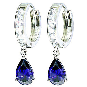 White Topaz & Sapphire Droplet Huggie Earrings in 9ct White Gold