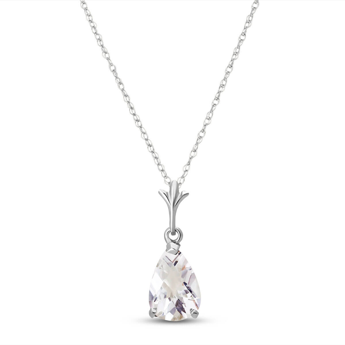 White Topaz Belle Pendant Necklace 1.5 ct in 9ct White Gold