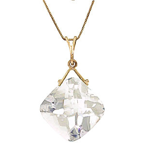 White Topaz Cushion Pendant Necklace 8.75 ct in 9ct Gold
