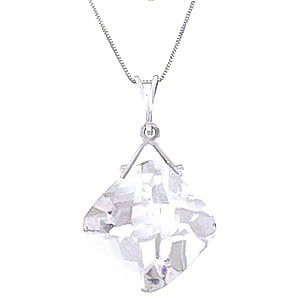 White Topaz Cushion Pendant Necklace 8.75 ct in 9ct White Gold