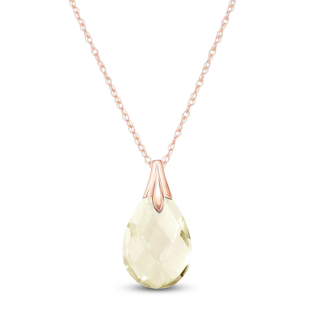 White Topaz Dewdrop Pendant Necklace 3 ct in 9ct Rose Gold