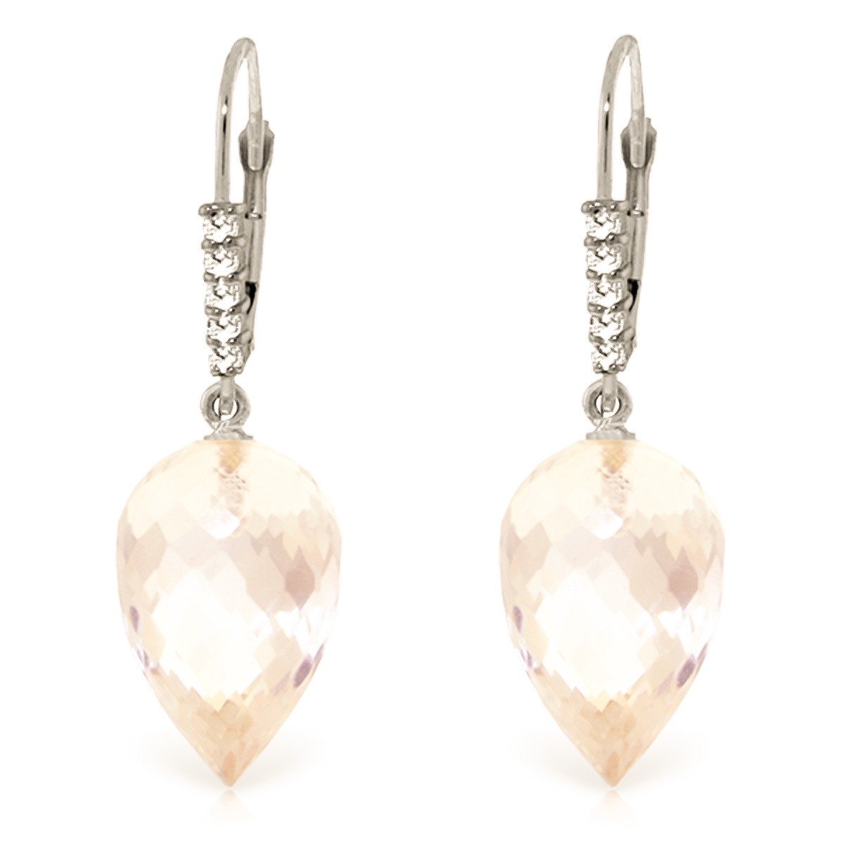White Topaz Drop Earrings 24.65 ctw in 9ct White Gold