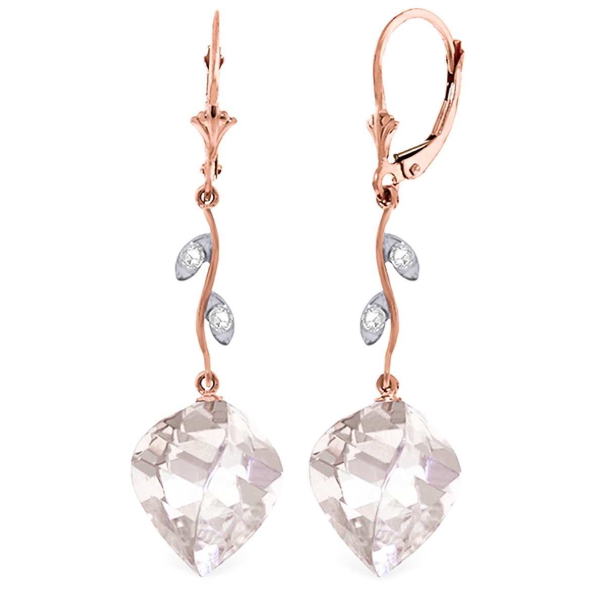 White Topaz Drop Earrings 25.62 ctw in 9ct Rose Gold