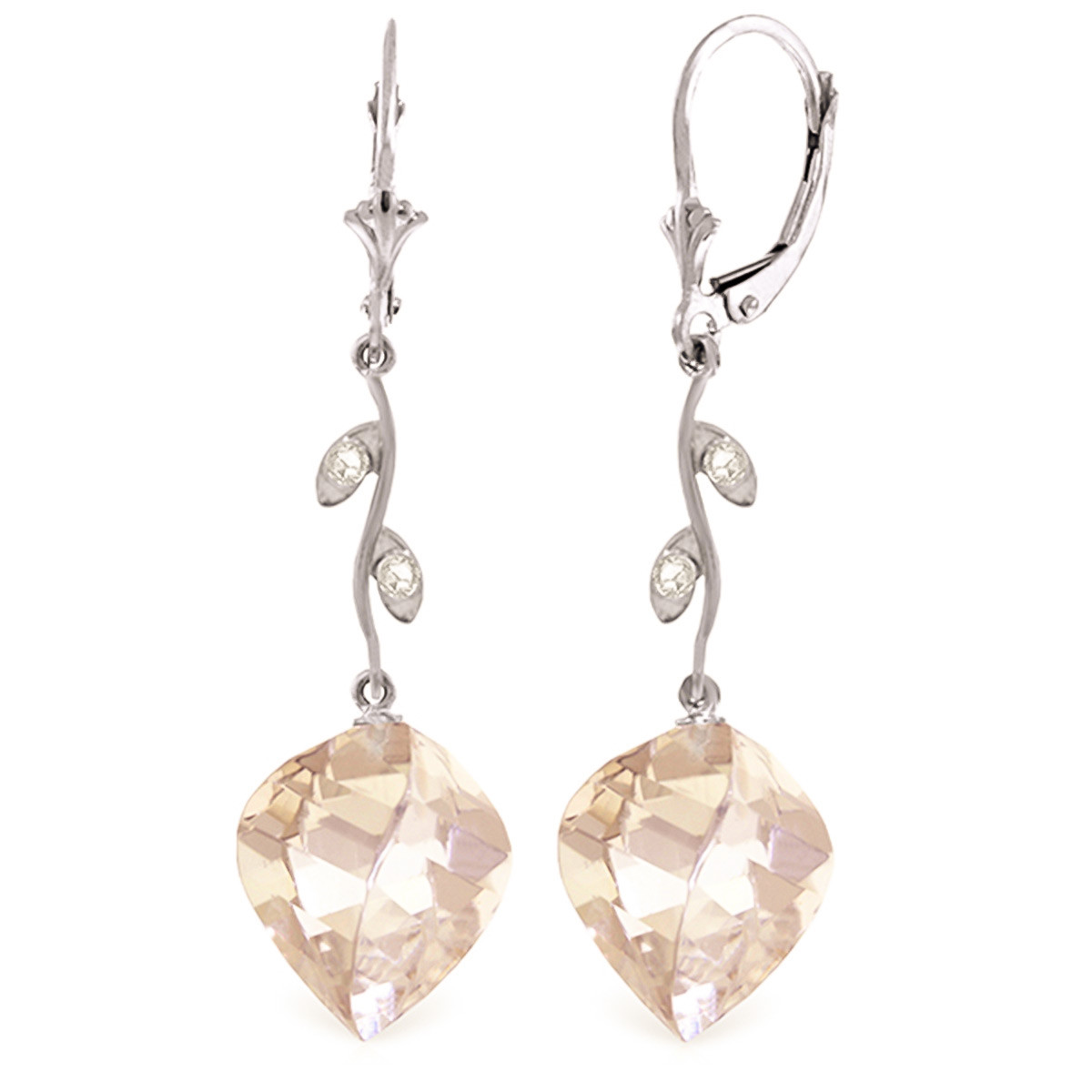 White Topaz Drop Earrings 25.62 ctw in 9ct White Gold