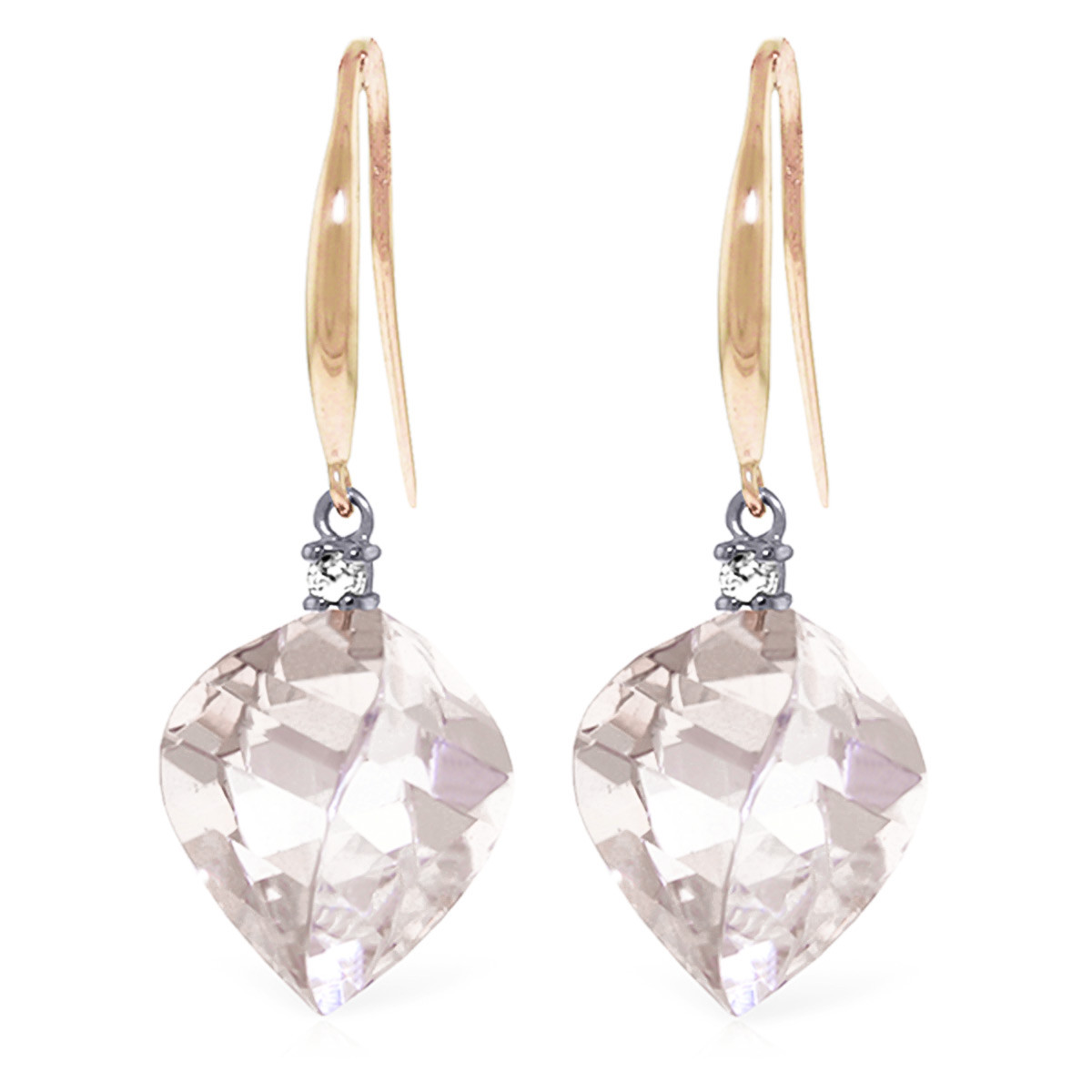 White Topaz Drop Earrings 25.7 ctw in 9ct Rose Gold