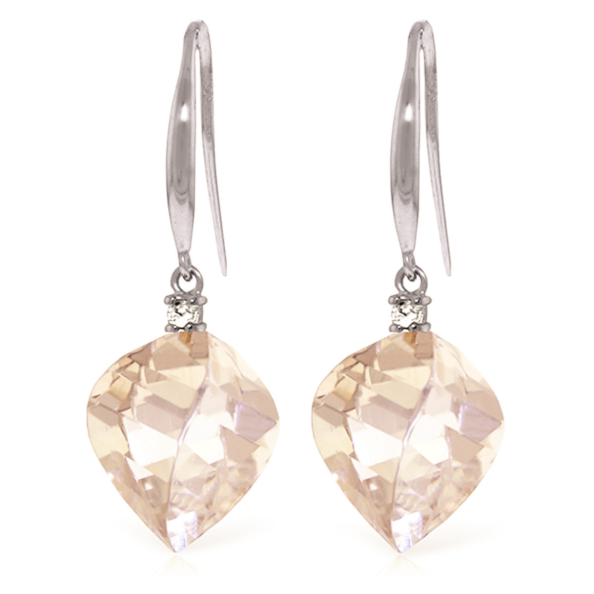 White Topaz Drop Earrings 25.7 ctw in 9ct White Gold