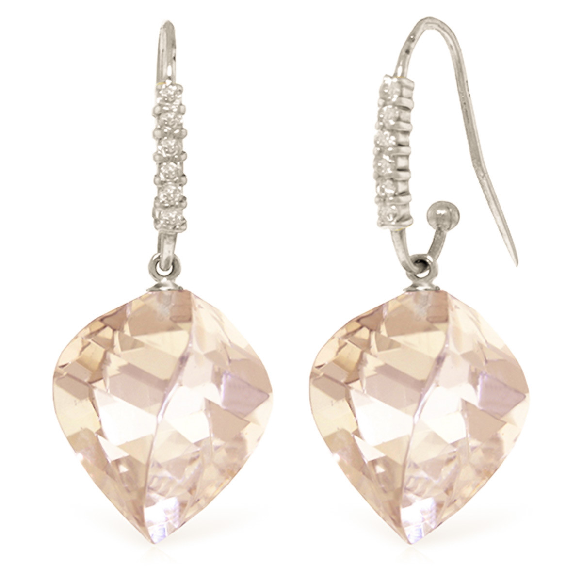 White Topaz Drop Earrings 25.78 ctw in 9ct White Gold