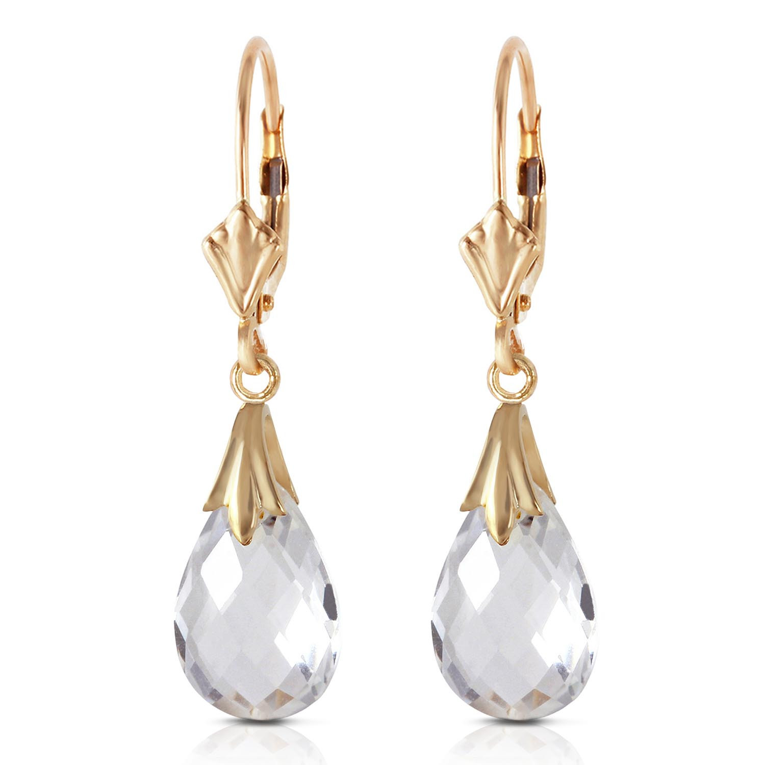 White Topaz Droplet Earrings 6 ctw in 9ct Gold