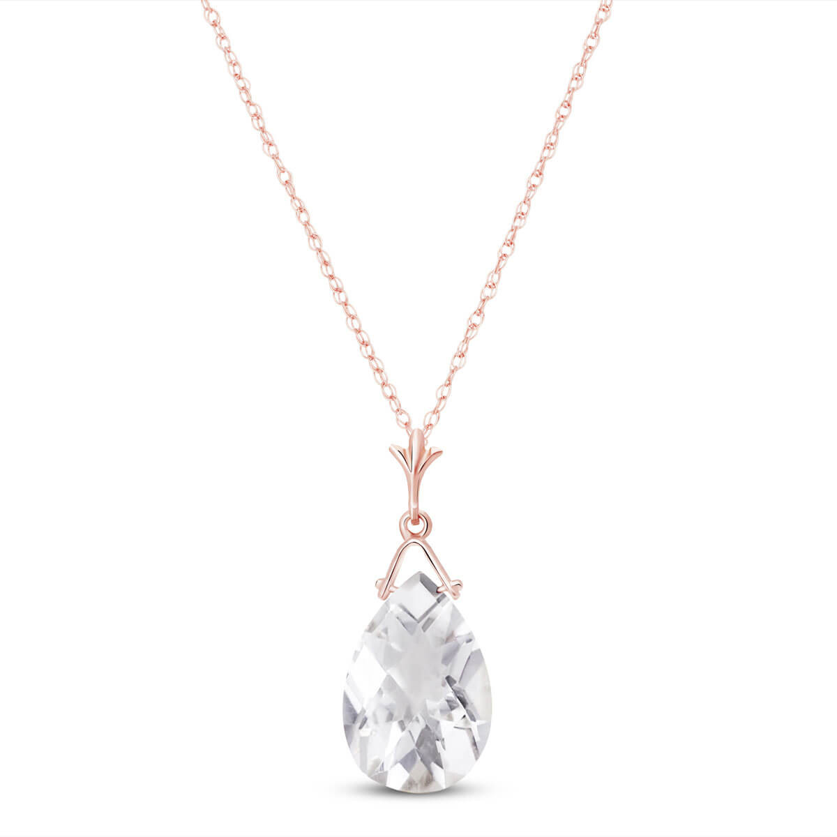 White Topaz Droplet Pendant Necklace 5.1 ct in 9ct Rose Gold