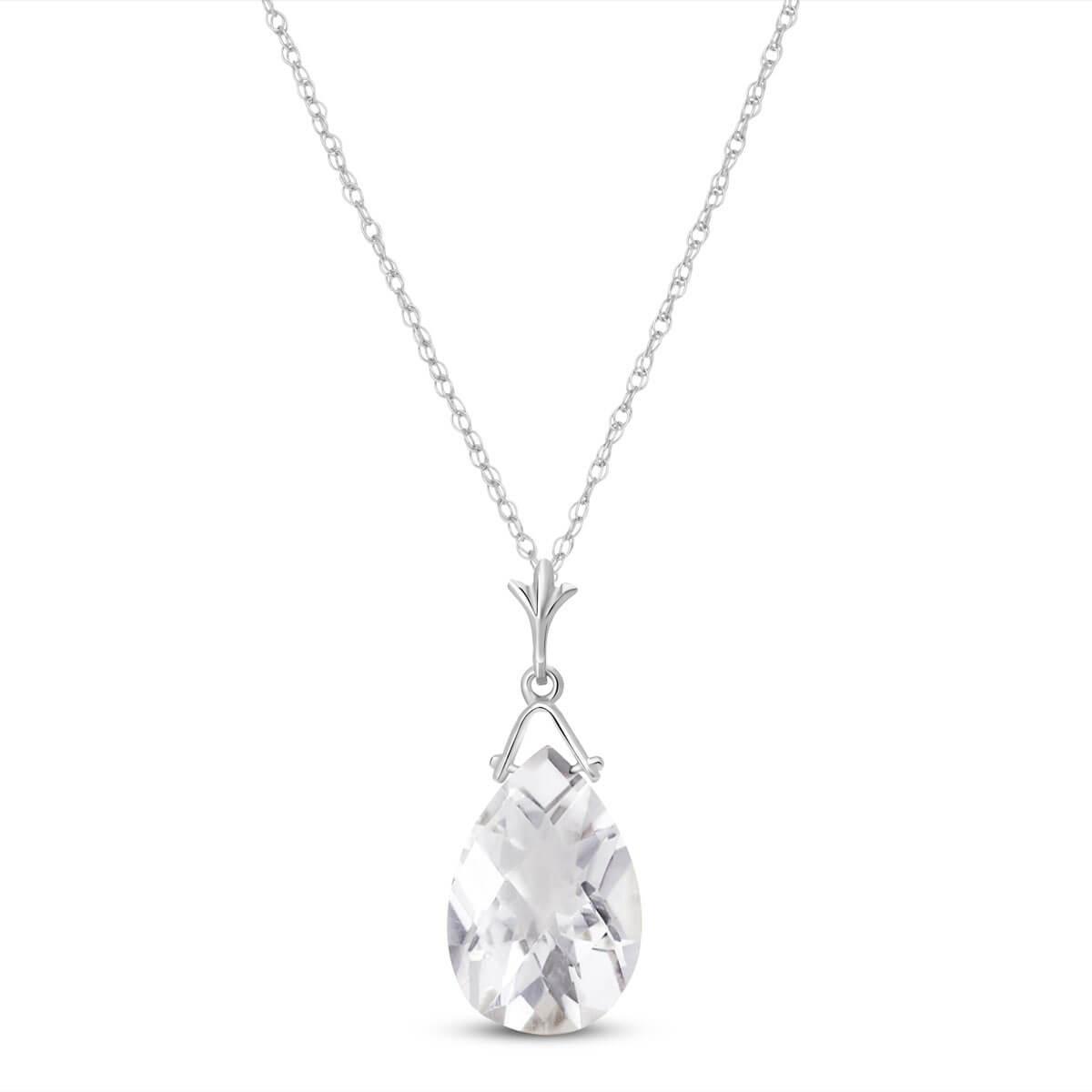 White Topaz Droplet Pendant Necklace 5.1 ct in 9ct White Gold
