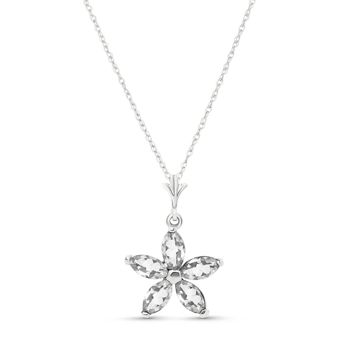 White Topaz Flower Star Pendant Necklace 1.4 ctw in 9ct White Gold