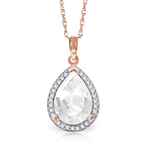 White Topaz Halo Pendant Necklace 5.61 ctw in 9ct Rose Gold