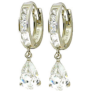 White Topaz Huggie Drop Earrings 4.2 ctw in 9ct White Gold