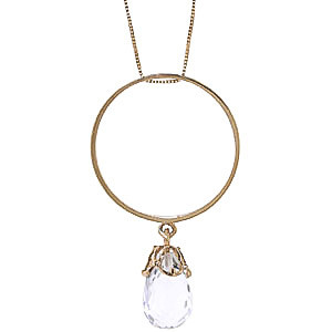 White Topaz Infinity Pendant Necklace 3 ct in 9ct Gold