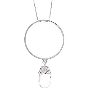 White Topaz Infinity Pendant Necklace 3 ct in 9ct White Gold