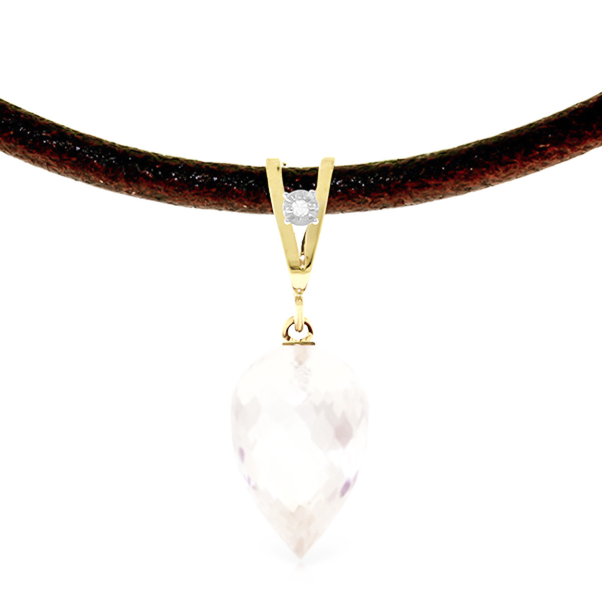 White Topaz Leather Pendant Necklace 12.26 ctw in 9ct Gold