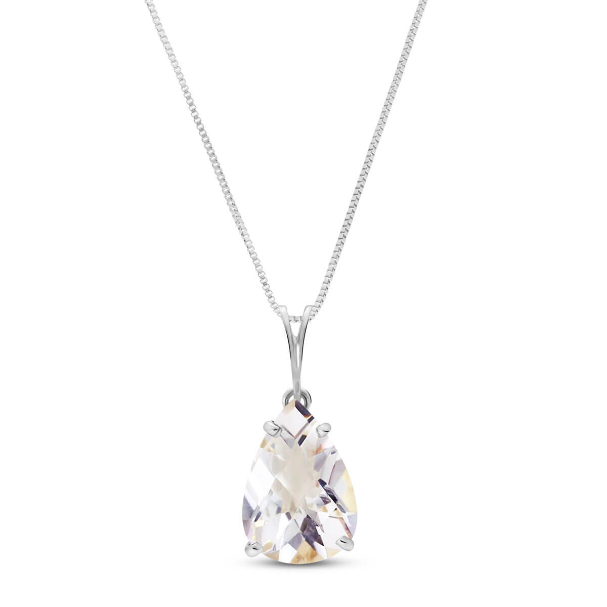 White Topaz Pear Drop Pendant Necklace 5 ct in 9ct White Gold