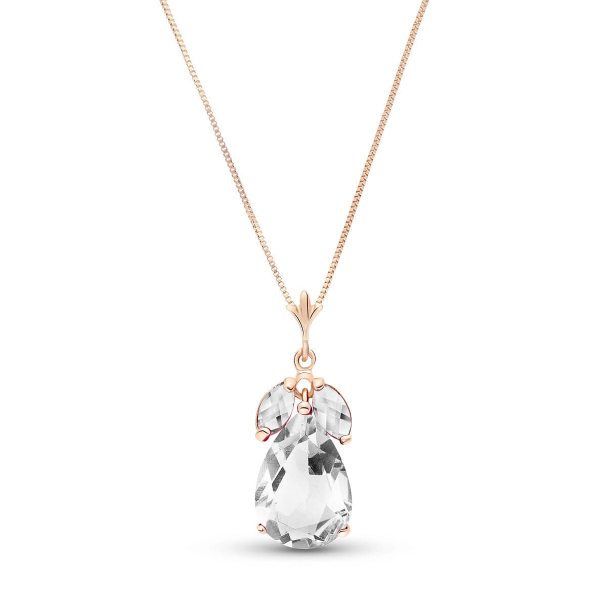 White Topaz Pear Drop Pendant Necklace 6.5 ctw in 9ct Rose Gold